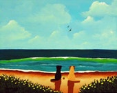 Black Yellow Lab Dog folk Art print by Todd Young AT THE BEACH