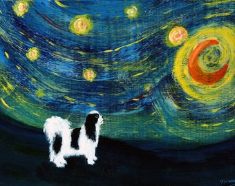 Black White Japanese Chin Spaniel Dog folk Art PRINT of Todd Young painting Starry Sky