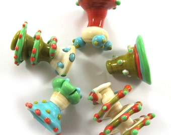 Lampwork beads. Lampwork beads set. Sea Wind Bells, turquoise, coral, turquoise and ivory lampwork beads (5) SRA