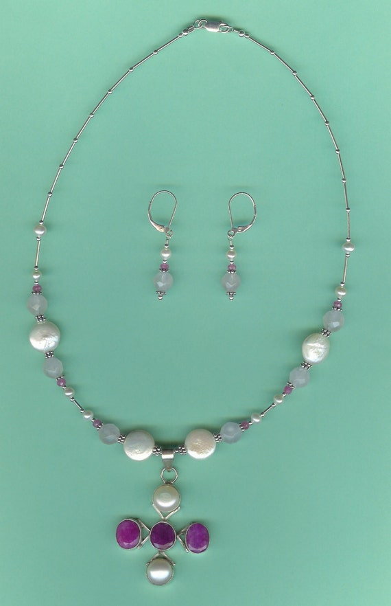 Ruby, Pink Sapphires, Rose Quartz & Pearls Sterling Silver Drop Set