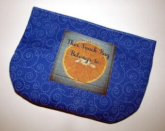Blue Spirals with Orange Snack Bag