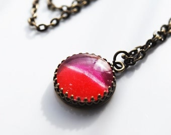 Sale - A. Cyclamen Colored Glass Dome Necklace in Antique Brass, FREE US SHIPPING