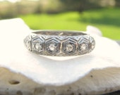 HOLD, Art Deco Wedding Band, Intricately Detailed Platinum Eternity Ring with Diamonds, Lovely Workmanship, Circa 1920s to 1930s