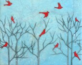 Cardinal Party - encaustic mixed media, limited edition print