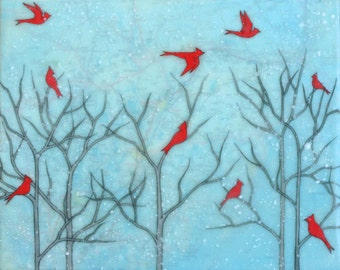 Print - Limited Edition - Cardinal Party - mixed media, encaustic