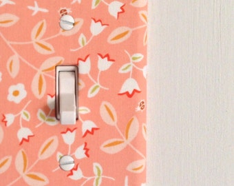 Light Switch Plate Cover, wall decor - light coral with flowers, floral, spring, pink