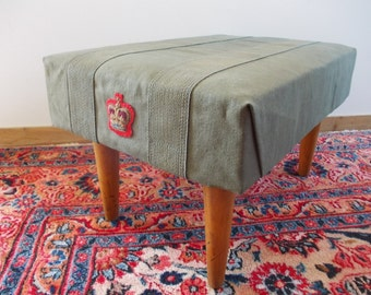 Upholstered Footstool. Vintage Industrial Furniture, Army Green Canvas, Red Gold Crown Patches. Handmade Rustic Wood Foot Stool / Side Table