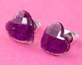 Small Glitter Heart Ear Posts - Purple -Violet Sparkle Stud Earrings