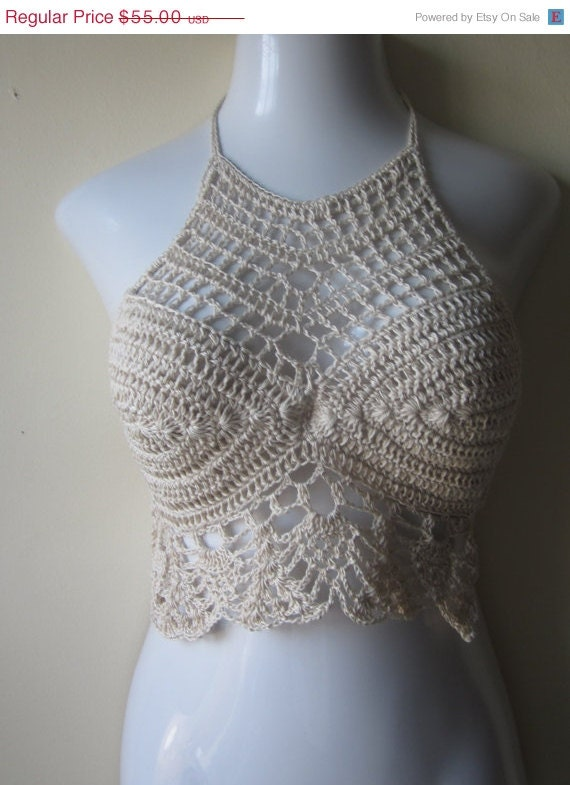Crochet halter top, crochet cropped top, halter top, FESTIVAL CLOTHING ...
