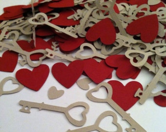 Key to Your Heart hearts and keys Confetti (200+ pieces) customization available