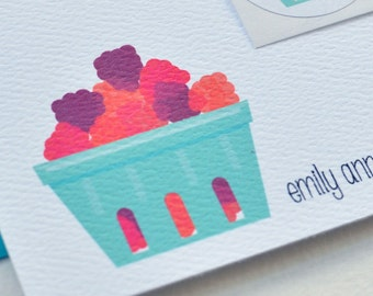 Raspberry Basket Farm-Fresh Personalized Stationery or Thank You Notecards with Stickers