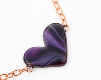 Heart Shaped  Fused Glass Necklace Mixed Media Copper Chain and purple crystal glass Beads
