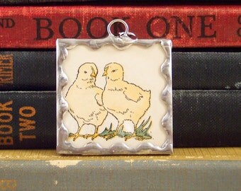 Baby Chicks Charm - Spring Chicken Pendant with Vintage Illustration - Soldered Glass - Chicken Jewelry - Chick Charm - Farm Animal