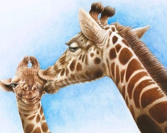A4 Children's Art Wildlife Giclee Print of Giraffe and Calf from an original acrylic illustration