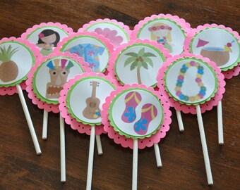 Luau Cupcake Toppers. Tiki. Set of 12. Pink. Green. Cupcake Toppers. Cupcake Picks.