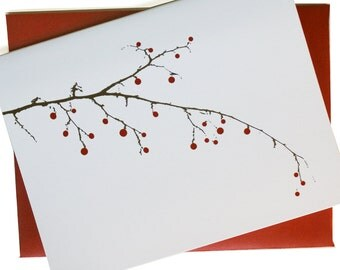 Christmas Cards / Holiday Cards - Berry Branch Cards - set of 24 in white - SAVE 5%