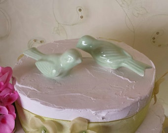 Wedding Cake Topper Birds Mint Green Vintage Ceramic in  Home Decor Bird Home Decor