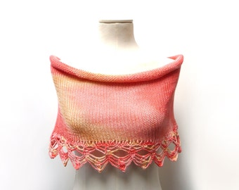 Hand Knit Cotton Capelet Shrug with Crochet Lace - Tye Dye Peach Pink Orange Shoulder Wrap - Cotton Mini Skirt - Beach Skirt