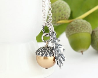 Gold Acorn Pendant, Gift For Mother, Silver Acorn Necklace, Sterling Silver Chain, Gift For Mom, Woodland Necklace, Rustic Necklace