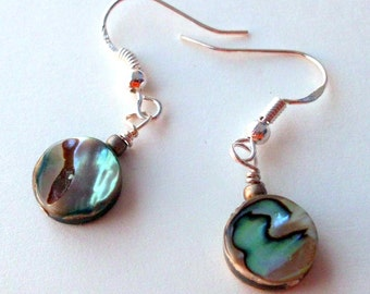 Round Flat Rainbow Abalone Bead Earrings on Sterling Silver Ear Wires with Bead
