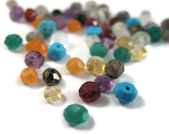 Gemstone Rondelle Mix! 20 Gemstone Rondelles, Multi-Stone Faceted Rondelle Beads, 20 Count Bag, Your Choice, Gemstone Beads
