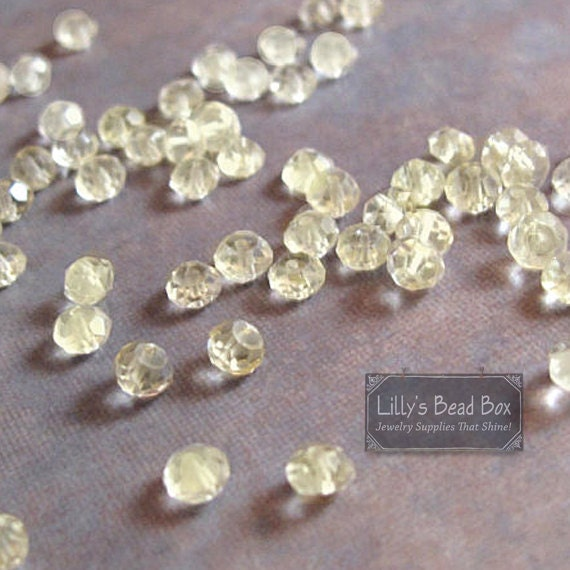 Natural Lemon Quartz Beads, Yellow Rondelles, 20 Small Stones, 3-3.5mm Faceted Gemstones, Necklace Beads (L-LQ3)