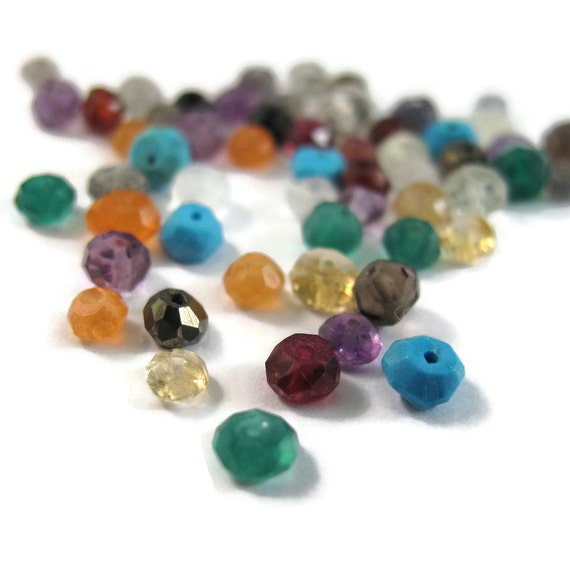 Gemstone Rondelle Mix! 20 Gemstone Rondelles, Multi-Stone Faceted Rondelle Beads, 20 Count Bag, Your Choice, Gemstone Beads (L-Mix12)