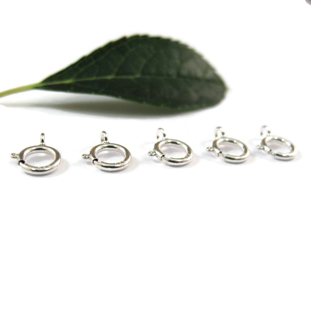 5 Silver Clasps, Small Silver Spring Ring Clasps, 5 Count of