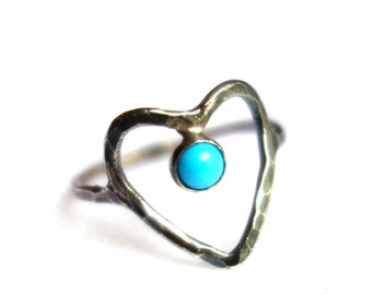 Dripping Heart Ring - Oxidized Sterling Silver Open Heart with Turquoise Cabochon