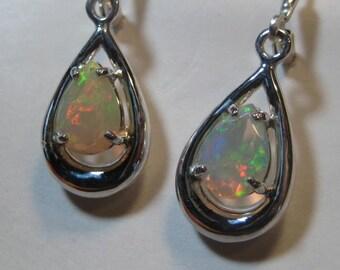 Beautiful Opal Gemstone  Earrings ... Sterling Silver  ....                 e663