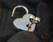 NEW STYLE!!  Very Small Nickel Heart Padlock with 2 keys