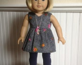 Keepin' It Casual Navy Dot V-Neck Tunic Dress or Top and Leggings Outfit for American Girl or 18 inch doll...