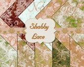 Buy 1 Get 1 Free Shabby Rusty Roses - Lacey Vintage Chic - Digital Paper Pack - Scrapbooking Graphics Instant Download