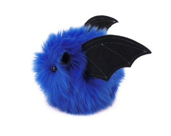 Stuffed Bat Stuffed Animal Cute Plush Toy Bat Kawaii Plushie Jet the Blue Bat Snuggly Cuddly Faux Fur Halloween Toy Small 4x5 Inches