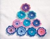10 handmade cotton thread crochet flowers -- 374