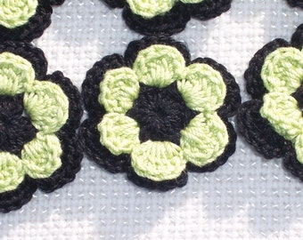 12 black and wasabi cotton thread crochet applique flowers/roses --  1567