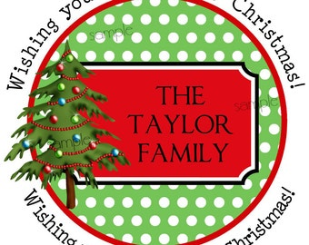 Personalized Christmas Stickers, Christmas Tree, polka Dots, Snowflake, Holiday, Labels,  seals, Favor, Gift, Set of 12