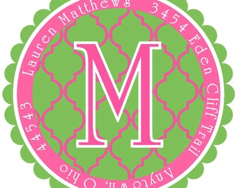 Address Labels,  Quatrefoil Design, Pink and Green,LARGE round address seals, Address Labels, Set of 12