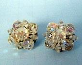 Vintage Signed Coro Crystal Glass Aurora Borealis Clip on Earrings