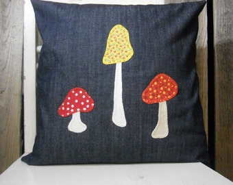 Mushroom appliqued pillow cover/ made from vintage reclaimed material/ mushrooms/mustard yellow, red and white polka dot, navy