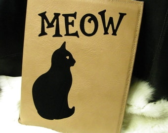 Large Leather Book Journal Black Cat Meow Cover Tan Color 10 x 7.25 w  Customize