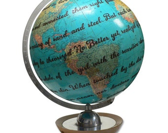 Vintage Globe Art, Custom Lyric, Poem or Vow, Personalized Globe Art