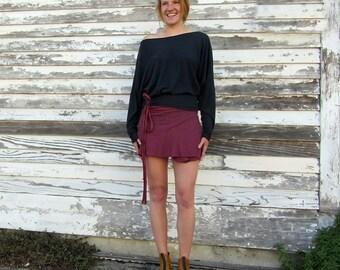 ORGANIC Wanderer Wrap Mini Skirt (light hemp/organic cotton knit) - organic skirt