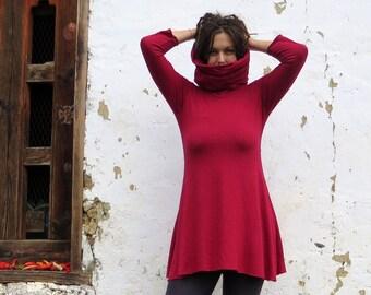 Organic Chunky Cowl Babydoll Tunic ( light hemp and organic cotton knit ) - organic tunic