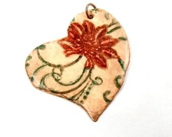 Hammered Copper Pendant, Red Rose Pendant, Heart Pendant, Colorful Resin Pendant