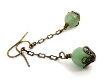 Green Earrings, Aventurine Earrings, Long Dangle Earrings, Gemstone Earrings, Antique Bronze Jewelry