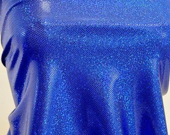 Shattered Glass Hologram Spandex Royal Blue Fabric ...dance...cheer bows...gymnastics...costume..crafts...pageant
