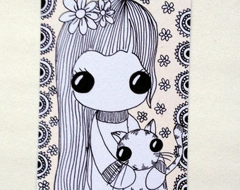 Cat Cuddle ACEO original