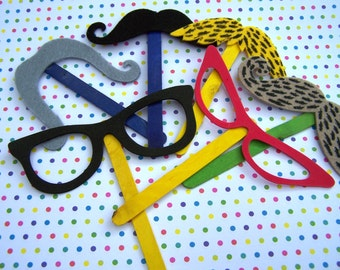 Photo Booth Glasses Party Favor Foam Felt Mustache Accessories 22pk