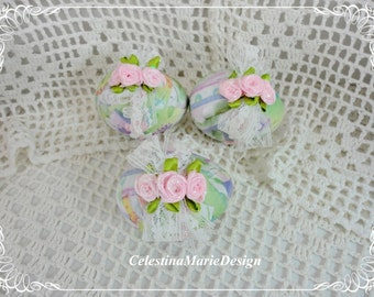 Paper Mache Decorative Spring Eggs, Set of 3, Covered with Vintage Gift Wrap and Pink Rose Accents, ECS, CSSTeam